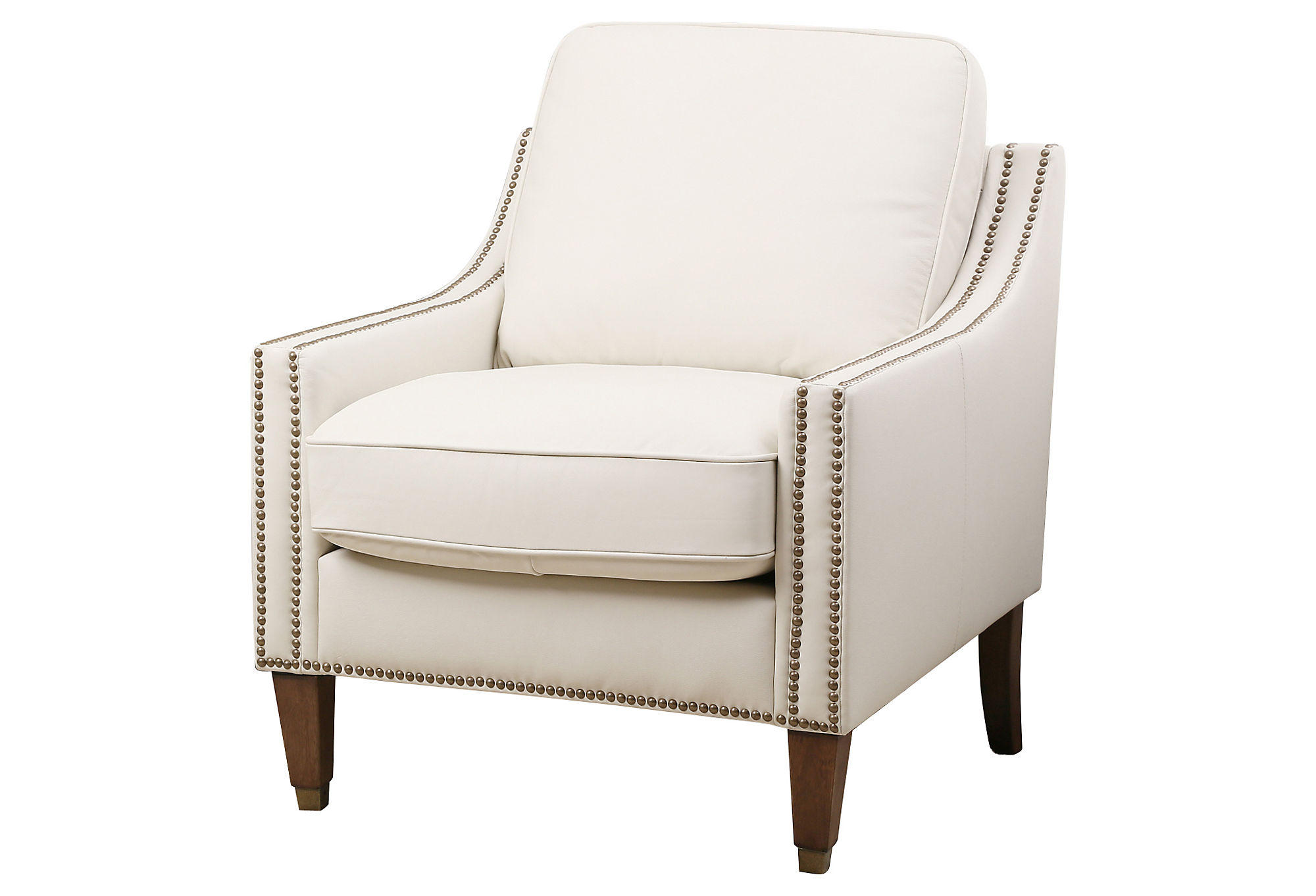 Tara Leather Accent Chair Ivory Accent From One Kings Lane