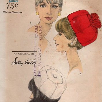 Vogue Vintage 1960s Sewing Pattern Misses Ladies Dome Shape Hat Pom-Pom Cap Designer Sally Victor Head Size 23