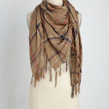 Plaid News Travels Fast Scarf in Tan | Mod Retro Vintage Scarves | ModCloth.com
