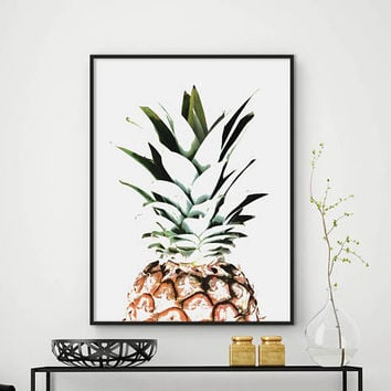 Sale!!! Pineapple Print, Printable Pineapple,  Kitchen Decor, Tropical Print, Pineapple Poster, Wall Art, Watercolor Pineapple