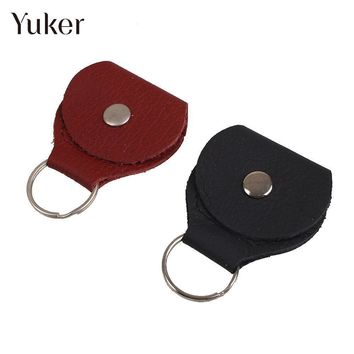 Yuker Leather & Metal Electric Guitar Pick Holder Plectrum Case Bag Guitar Parts Accessories