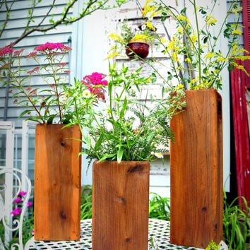 Cedar Planter Boxes, Set of Three Vases | Wedding Table Centerpieces Wedding Vases Outdoor Planters Herb Planters Flower Boxes Flower Vases