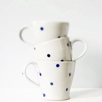 Ceramic pottery mug with polka dots - handmade pottery grey gray indigo cobalt blue - modern ceramic three cup set
