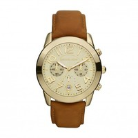Michael Kors Watches Leather Strap Mk2251 Watch In Gold MK2251 - Excel Clothing
