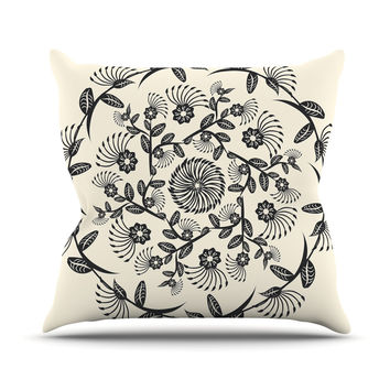 "Famenxt ""Black & White Decorative Mandala"" Geometric Outdoor Throw Pillow"