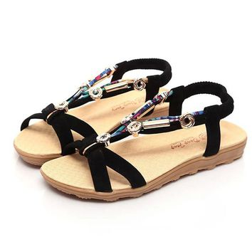 Hot Sale Summer Sandals Shoes Women Peep-toe Low Flat Shoes Roman Style Fashion String