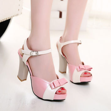 PU Peep-toe Mixed Color Bowtie High Block Heel Ankle Strap Sandals