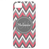 Monogrammed Pink & Grey Chevron Pattern iPhone 5 Covers from Zazzle.com