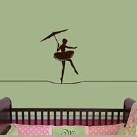 Circus Vinyl Wall Decal Ballerina tight rope by HouseHoldWords