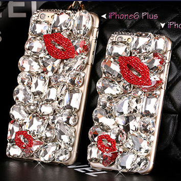 Luxury large rhinestone iphone case for iphone 6 iphone 6 plus cases red lip iphone 6 case iphone 6 cover bling iphone 6 casesC4