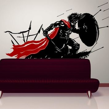 Spartan in Battle Wall Decal. 300 Strong Armored Soldiers in War Design. #GFoster178