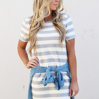 Casual Striped Pocket Dress {Grey/Cream}