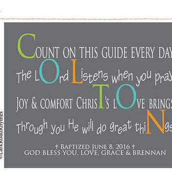 Unique Baptism Gift For Godson Christening Boy Christian Baby Religious Wall Art Inspirational Nursery Personalized Poem 8x10 Colton