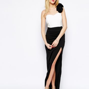 Jessica Wright Cindy Maxi Dress with Corsage - Black/white