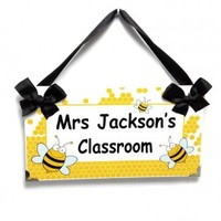 personalized bumble bees teacher name plaque classroom decor - honey bee sign beekeepers class wall plaque