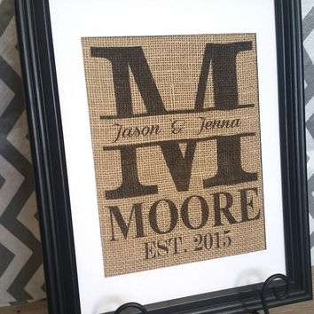 Personalized Wedding Gift -Custom Burlap Monogram Wedding Sign, Wedding, Anniversary Print- Family Name Sign with Established Date