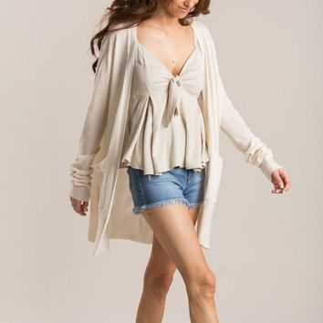 Kira Lightweight Cream Cardigan