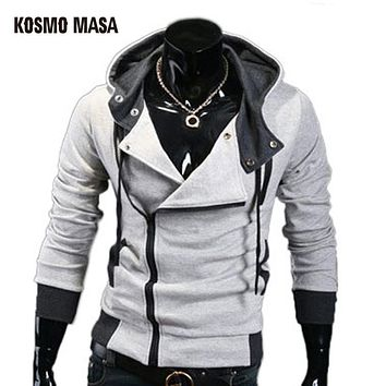 Cotton Blend Casual Slim Cardigan Assassin Creed Men Hoodies Sweatshirt Outerwear Jackets