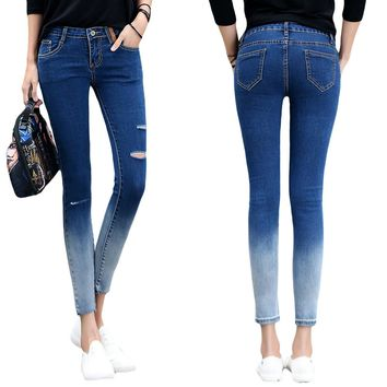 Women Jeans Skinny  Ripped Pencil Pants Casual