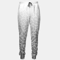 Ombre black and white swirls doodles Sweatpants, Live Heroes
