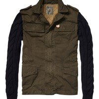 Military Jacket With Knitted Sleeves - Scotch & Soda