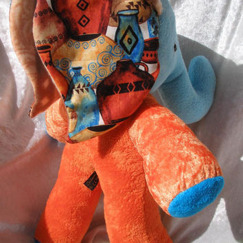 Home Decor ELEPHANT Cultural Vases Pottery de Luxe - Orange Turquoise - LUXURY soft stuffed plush Animal designed + made in Berlin Germany