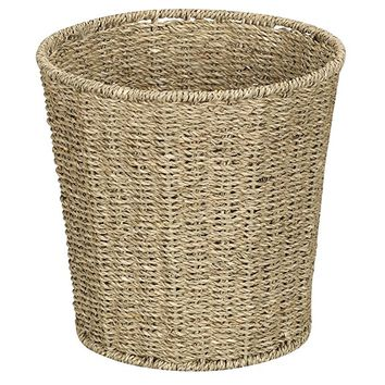 Household Essentials ML-5692 Woven Seagrass Wicker Waste Bin - for Bathrooms and Bedrooms - Natural