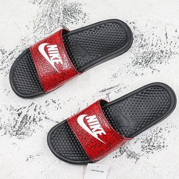 Nike Benassi Swoosh Black Red Camo White Slide Sandal Slipper - Best Deal Online