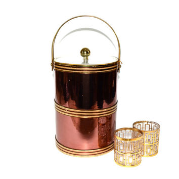 Ice Bucket Copper Ice Bucket Copper and Gold Ice Bucket Tall Ice Bucket Champagne Ice Bucket Georges Briard Barware Bar Cart