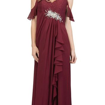Empire Waist Long Formal Dress with Slit and Drapes Burgundy