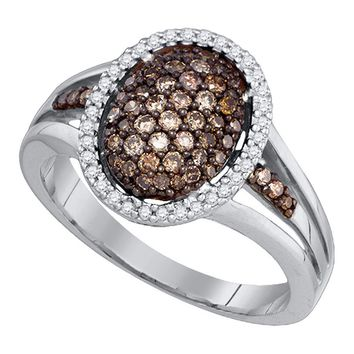 10kt White Gold Womens Round Cognac-brown Color Enhanced Diamond Oval Cluster Ring 1/2 Cttw