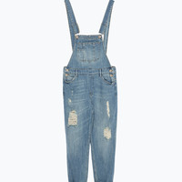 Cropped denim dungarees