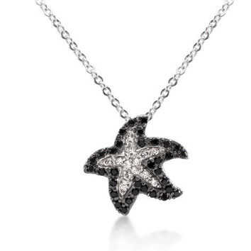 Black CZ Starfish Necklace