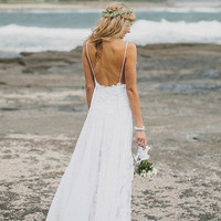 Stunning low back white lace wedding dress with lace lining and silk chiffon dreamy skirt layering