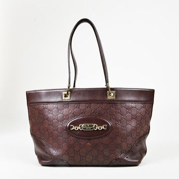 "Gucci Brown ""Guccisima"" Leather Gold Tone ""Punch"" Tote Bag"