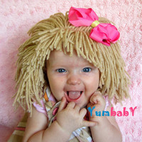 Cabbage Patch Baby Wig- Girl Dress up Clothes Raggedy Ann Infant Blonde Hair Wig Newborn Photo Prop Baby Hats