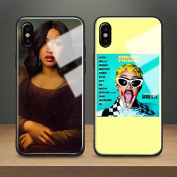 Cardi B rapper hiphop Rap couqe Tempered Glass Soft Silicone Phone Case Shell Cover For Apple iPhone 6 6s 7 8 Plus X XR XS MAX