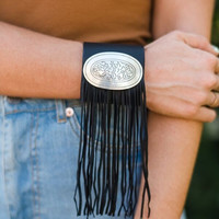 Cowgirl Up Black Fringe Plate Cuff