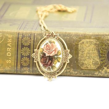 Vintage Sarah Coventry Necklace - Floral Necklace - Vintage Pendant - Rose Marie Necklace - 1970's Necklace - Gift For Her - Mom Gift