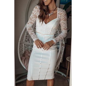 Off White Midi Dress with Lace Sleeves