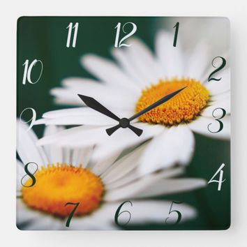 Two pretty daisies. Arabic numerals. Square Wall Clock