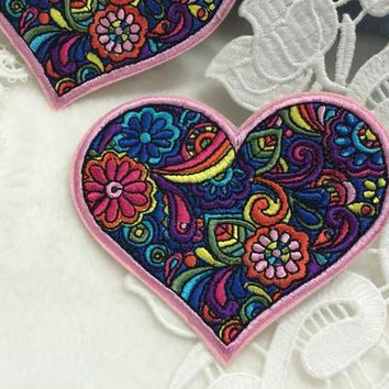 Floral colorful heart embroidered patch /gorgeous patch /iron on patch /high quality patch/feminism patch/DIY