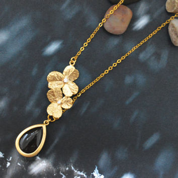 SALE10%) A-021 Unbalanced flower necklace, Bezel set jade drop necklace, Gold plated, Modern necklace/ Bridesmaid gifts /Everyday jewelry/