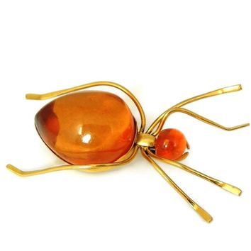 Russian Baltic Amber Spider Brooch BIG Vintage over 14 carats - Gold Plated