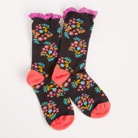 Crew  Socks:  Black  with  Pink  &  Turquoise  Flowers  Natural  Life  Ruffle  Crew  Socks