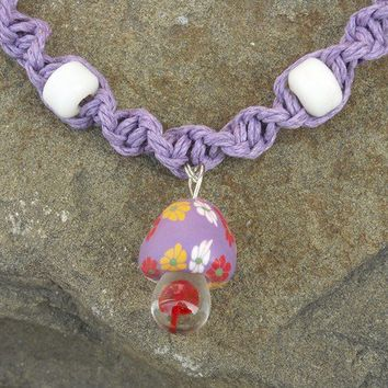 Pretty Purple Lilac Spiral Hemp Necklace with Glass Fimo Mushroom Pendant and White Beads