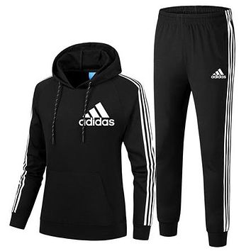 ADIDAS 2018 autumn and winter new trend women's sports and fitness two-piece Black