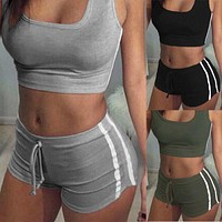 2Pcs Womens Fitness Stretch Racerback Tank Top+Shorts Pants Suit Bra Sets Elastic Sexy Bodycon Apparel