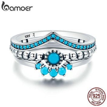 BAMOER Genuine 100% 925 Sterling Silver  3 Piece Ring