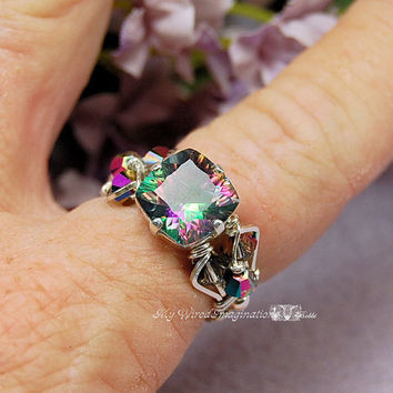 Genuine Rainbow Mystic Topaz Starburst Cushion Cut Wire Wrapped Ring - Signature Design Marcella Ring